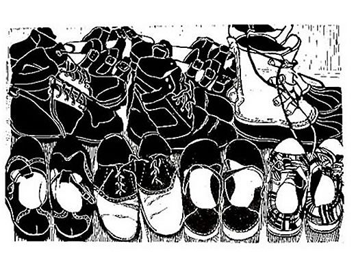 Lino cut shoe collection of artist