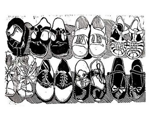 Black and white print - children shoes