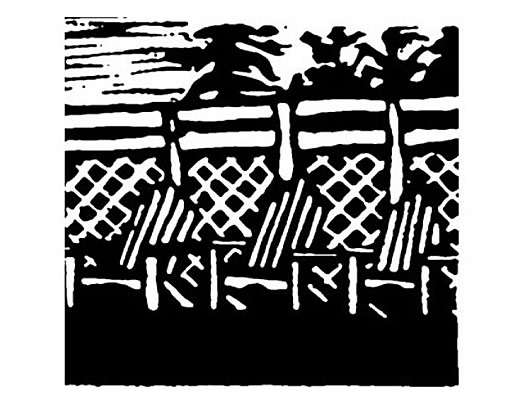 Black and white lino print, lovely adirondack chairs on deck, Deer Island New Brunswick