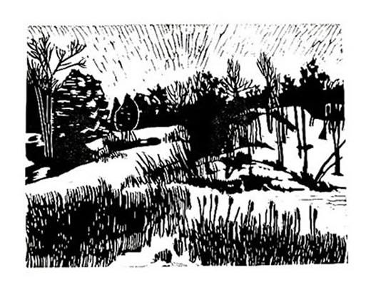 Linocut hills cattails in winter