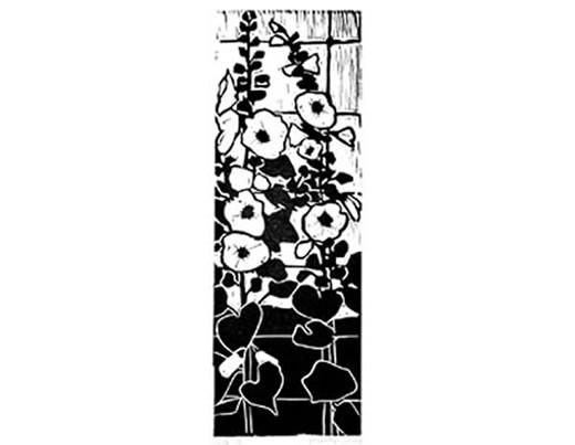 Linocut print of hollyhock flowers