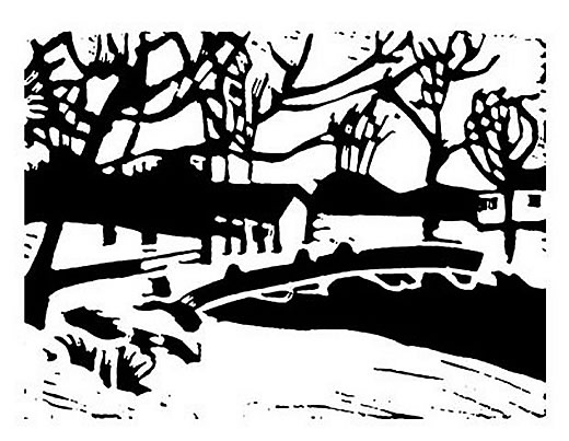 Black and white Lino cut print with trees and a bridge near Perth Ontario