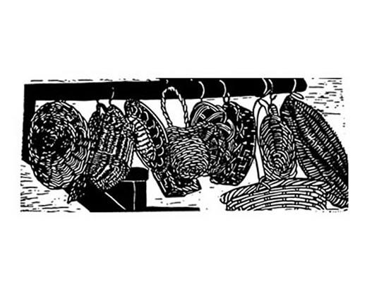 Lino cut print hanging kitchen baskets