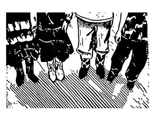 Black and white print, lino cut, at the Calgary Stampede, Children with cowboy boots