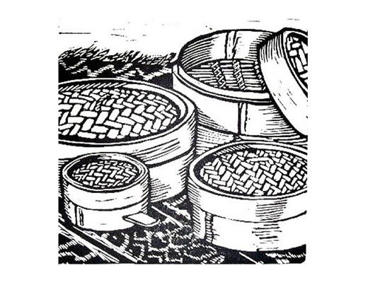 Lino cut print of baskets for steaming vegetables