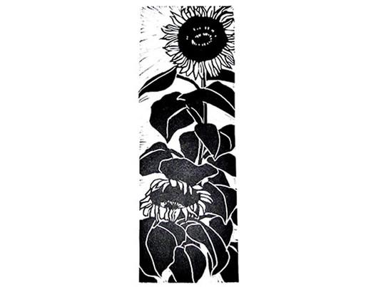 Linocut sunflower black and white