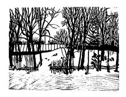 Linocut winter country scene