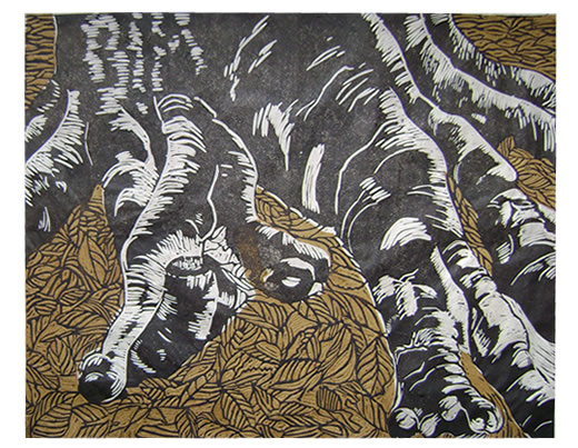 Colour linocut - tree roots