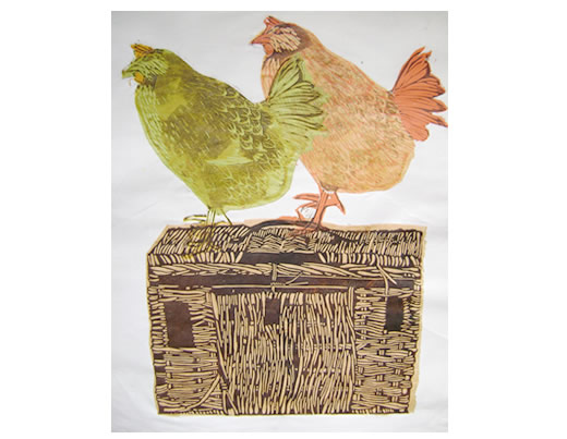 Colour linocut - Travelling Chickens